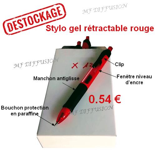 Boite de 12 stylos gel rétractable rouge
