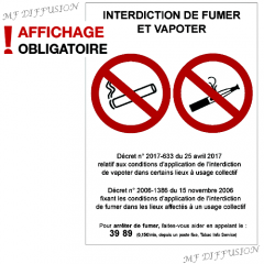 Panneau interdiction de fumer et de vapoter MF DIFFUSION