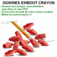 Gommes embout crayon MF DIFFUSION
