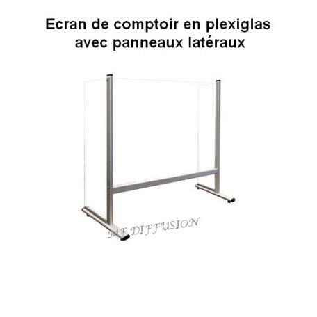 Ecran de comptoir plexiglas avec panneaux latéraux