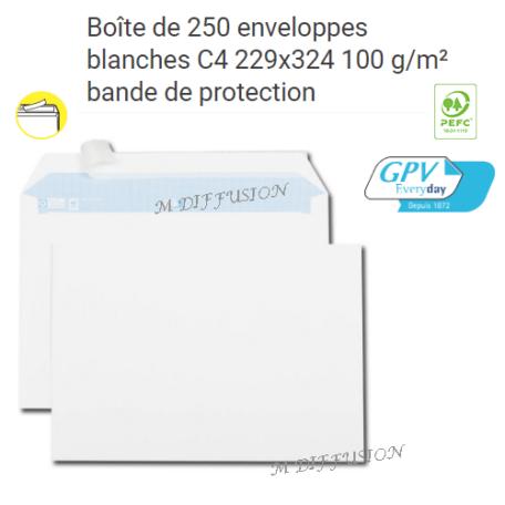 Boite de 250 enveloppes blanches CA MF DIFFUSION