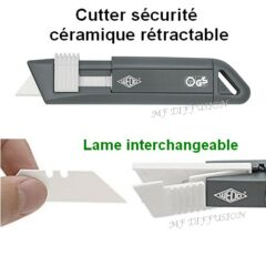 Cutter sécurité lame céramique MF DIFFUSION